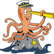 Cartoon of smiling octopus with telescope on rock in oceanc — Stock Vector