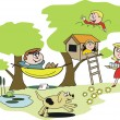 Vector cartoon of happy family relaxing with hammock, tree house in garden — Stock Vector