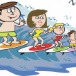 Cartoon showing happy family surfing on wave with peg dog — Stock Vector