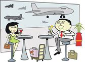 Vector cartoon of happy Asian man and woman at airport terminal — Stock Vector
