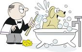 Vector cartoon of happy dog being washed in bathtub by butler — Stock Vector