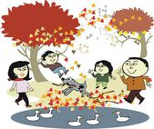 Vector cartoon of happy Asian family enjoying walk outdoors in autumn — Stock Vector