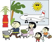 Vector cartoon of happy Asian family with luggage at airport terminal — Stock Vector