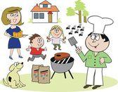Vector cartoon of happy family enjoying barbecue outdoors — Stock Vector
