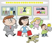 Vector cartoon of family group shopping at department store carrying presents — Vector de stock