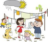 Vector cartoon of happy family working together hanging out laundry despite rain cloud — Stock Vector