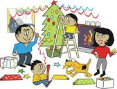 Vector cartoon of happy African family at Christmas decorating tree and putting up streamers — Stock Vector