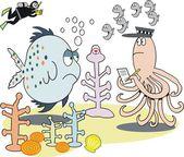 魚、タコ、サンゴの面白い形のベクトルの漫画 — ストックベクタ