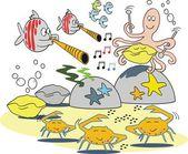 Kreslené vektorové podvodní scény s funny ryby a chobotnice s kraby — Stock vektor