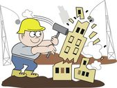 Vector cartoon of demolition worker smashing building with hammer — Stock Vector