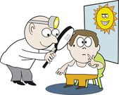 Vector cartoon of health professional examining patient for sunspot damage — Stock Vector