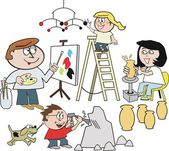 Vector cartoon of happy family artists painting, making sculpture, and pottery — Stock Vector