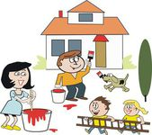 Vector cartoon of happy family painting and refurbishing house — Stock Vector