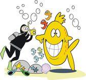 векторный мультфильм diver кожи принимая фотография улыбаясь рыбы — Cтоковый вектор