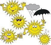 Vector cartoon showing smiling sun with umbrella, plus cloud — Stock Vector