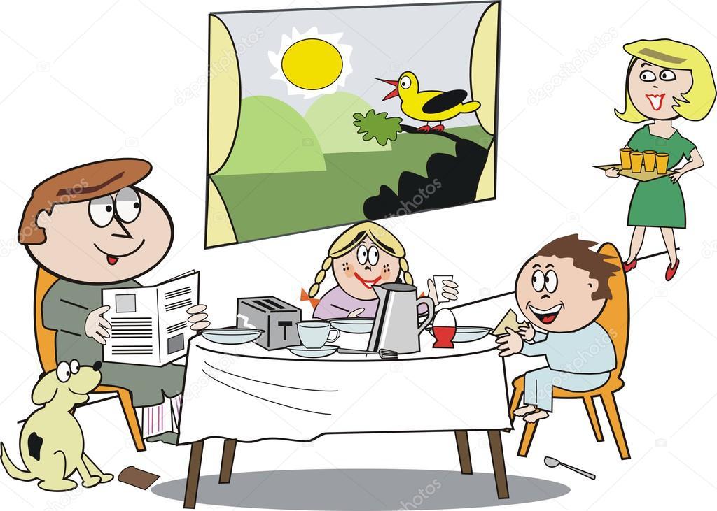 Cartone animato di vettore del gruppo famiglia felice