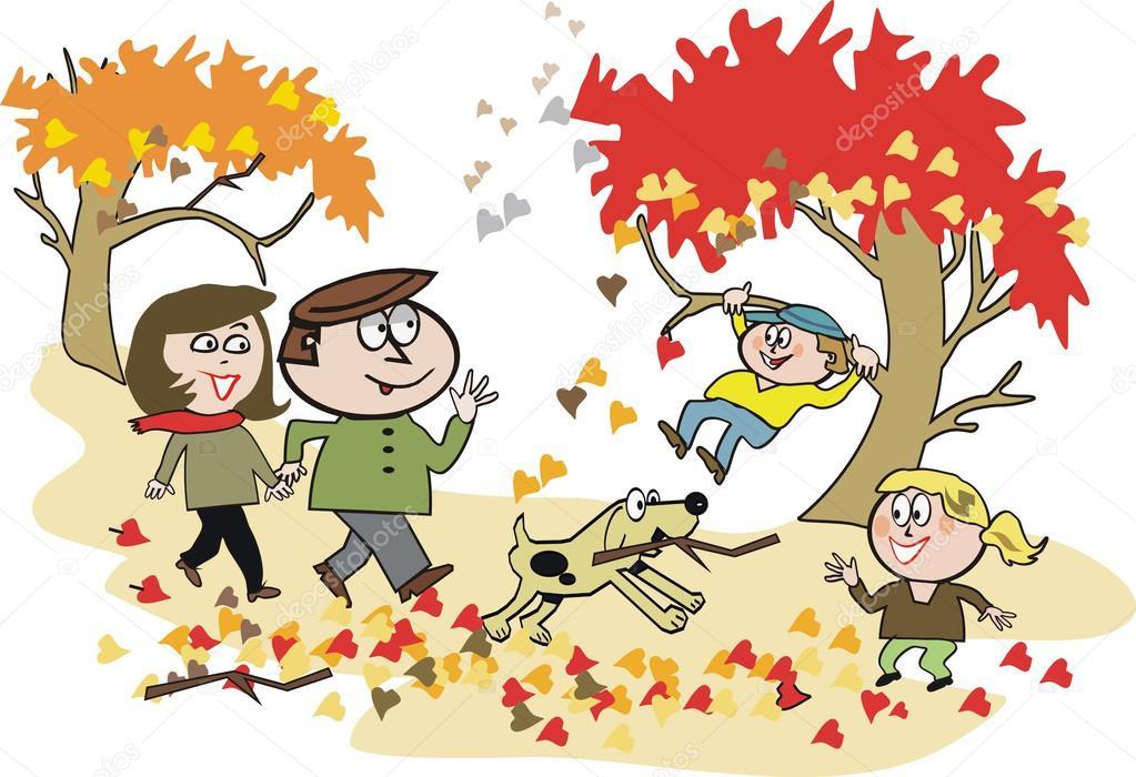 Hojas De Dibujos Animados Vector De Familia Feliz Caminar