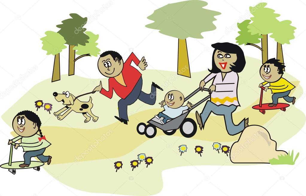 Imagen De Una Familia Feliz Animada: Dibujos Animados De Vector De Familia Africana Feliz