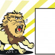 Cartoon of fierce lion and blank display square - Stock Vector