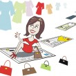 Woman shopper with credit card viewing fashion styles — Imagen vectorial