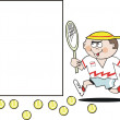Cartoon of determined tennis player running towards blank sign — Stok Vektör