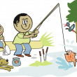 Cartoon of father and son fishing outdoors — Stock Vector