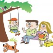 Cartoon of happy family in park — 图库矢量图片