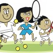 Vector cartoon of Asifamily playing tennis — Stock Vector #26640329