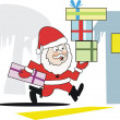Cartoon of Santa Claus running with presents towards house — Stock Vector