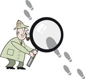 Cartoon of private detective with large magnifying glass searching for footprints — Stock Vector