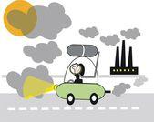 Cartoon of motorist encountering fumes and smog pollution — Stock Vector