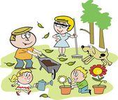 Kreskówka uśmiechnięta rodzina grupa pracy w ogrodzie — Wektor stockowy