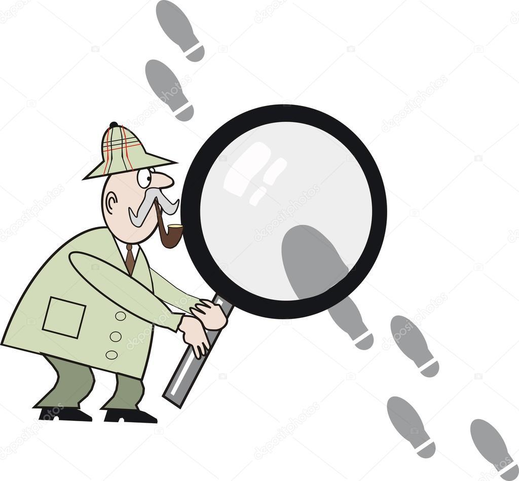 Cartone animato del detective privato con grande lente di