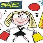 Vector cartoon of woman carrying shopping bags. — Stock Vector #26749095