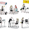 Royalty-Free Stock ベクターイメージ: Vector illustration of women drinking coffee in restaurant.