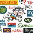 Vector cartoon of man running marathon with signs — Stockvectorbeeld