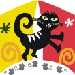 Vector cartoon of stylized cat chasing mice. — Stock Vector