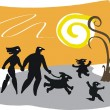 Royalty-Free Stock Imagen vectorial: Vector illustration of happy family on sunset in nature