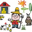 Vector cartoon of farmer with animals — Stock Vector #26749147