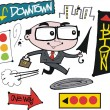 Vector cartoon of business executive running with umbrella - Stock vektor