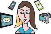 Vector cartoon of woman with tablet, phone and camera — Stock Vector