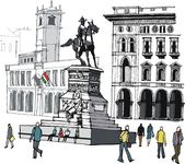 Vector illustration of main city square and pedestrians, Milan, Italy. — Stock Vector
