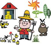 Vector cartoon of farmer with animals — Stock Vector