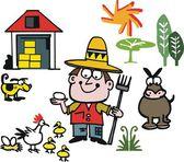Vector cartoon of farmer with animals — Stock Vector