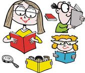 Vektor tecknad av läsa böcker. — Stockvektor