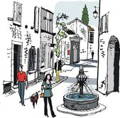 Vector illustration of old village street scene, France. — Stock Vector