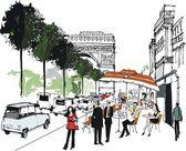 Vector illustration of cafe scene in Paris, France. — Stock Vector