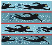Vector illustration of swimmers racing in pool — Stock vektor
