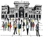 Vector illustration of in city square, Milan, Italy — Stock Vector
