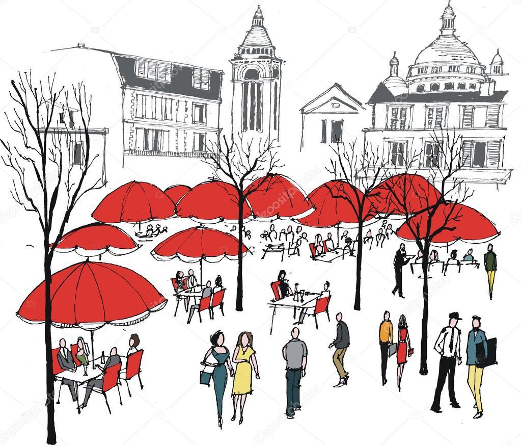 Paris Illustration: Vector Illustration Of Diners At Cafe Restaurant Near